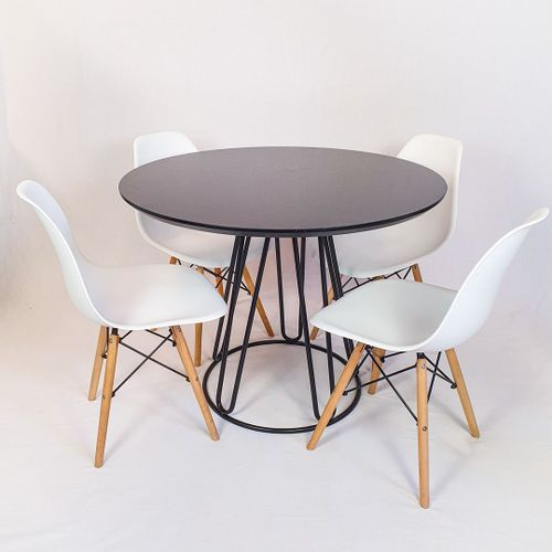 Conjunto Mesa Redonda Rubi 100cm Vidro Preto, base metal Preto + 4 Cadeiras Eiffel Branca