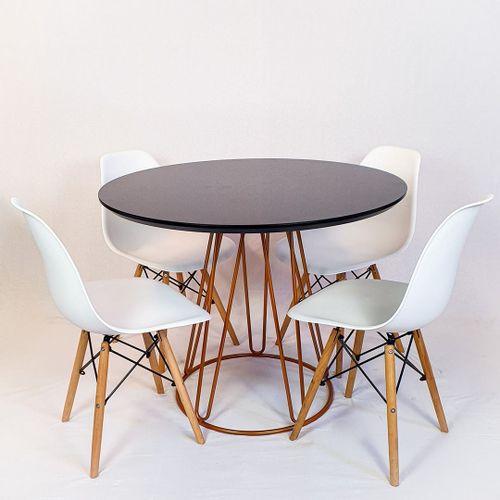 Conjunto Mesa Redonda Rubi 100cm Vidro Preto, base metal Cobre + 4 Cadeiras Eiffel Branca