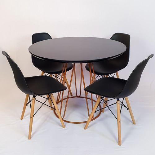 Conjunto Mesa Redonda Rubi 100cm Vidro Preto, base metal Cobre + 4 Cadeiras Eiffel Preta