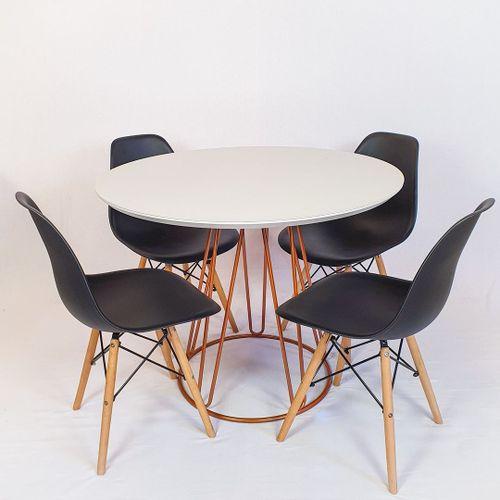 Conjunto Mesa Redonda Rubi 100cm Vidro Off White, base metal Cobre + 4 Cadeiras Eiffel Preta
