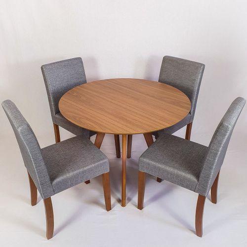 Conjunto Mesa Redonda 88cm + 4 Cadeiras Itália