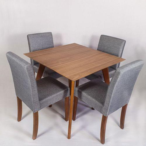 Conjunto Mesa Quadrada 100x100cm + 4 Cadeiras Itália